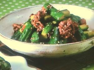 きゅうりと牛肉の韓国風炒め