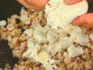 豆腐のあっさりミートソース