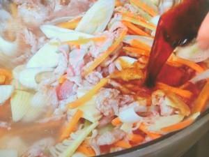 豚肉とたけのこの炒め煮 酸辣味