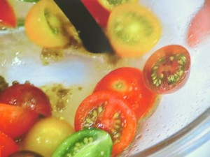 豚バラとカラフルトマトのサラダ ゆずこしょう風味
