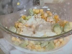 そら豆ととうもろこしのかき揚げ&鶏ささ身の青じそ揚げ