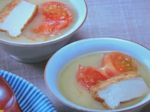 厚揚げとトマトの白味噌仕立て