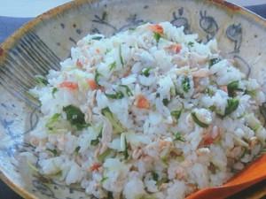 豚しゃぶと梅と水菜の混ぜご飯
