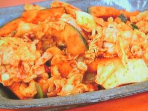 かぼちゃと豚肉のキムチ炒め