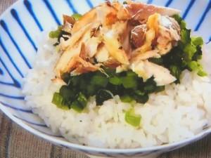 塩サバと野沢菜のせごはん