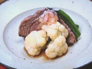塩蒸しカリフラワーと牛肉のポン酢あえ
