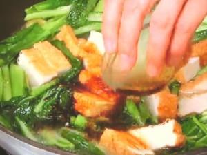 小松菜、厚揚げ、えびの中華うま煮