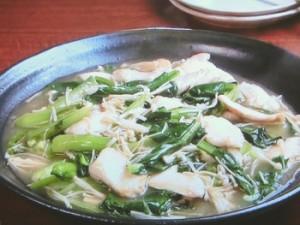 鶏肉、小松菜、えのきのとろみ炒め