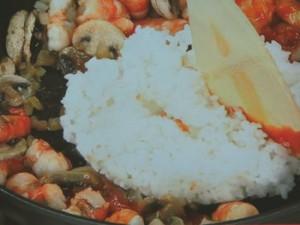 豆腐クリームのえびドリア