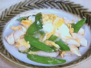 絹さやと鶏ささ身の卵炒め