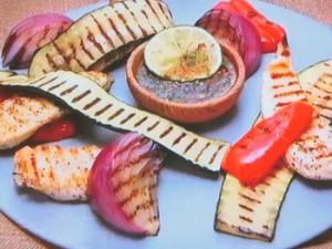 もこみち流 ササミと野菜のグリル~オリジナルバジルチリソース