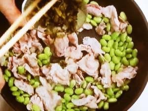 豚こまと枝豆、高菜の炒め物