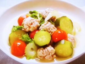 くしゅくしゅ肉だんごと野菜のスープ煮