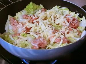 白菜と豚肉のチーズ蒸し