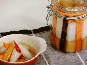 根菜と豆のスパイスレモン塩ピクルス