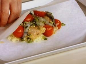 鶏肉香味マリネの包み焼き