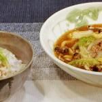 白菜麺と梅シソジャコご飯