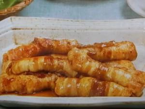 豆腐の豚バラ巻き