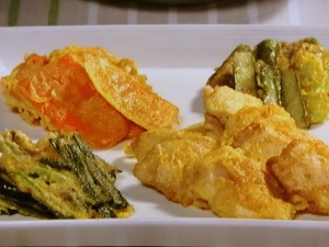 鶏むね肉と春野菜の卵衣焼き