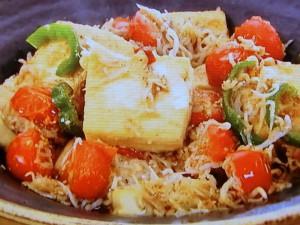 シラスと豆腐のゴマ炒め