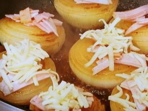 玉ねぎステーキ ハムチーズのせ
