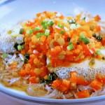 白身魚とパプリカの蒸しもの